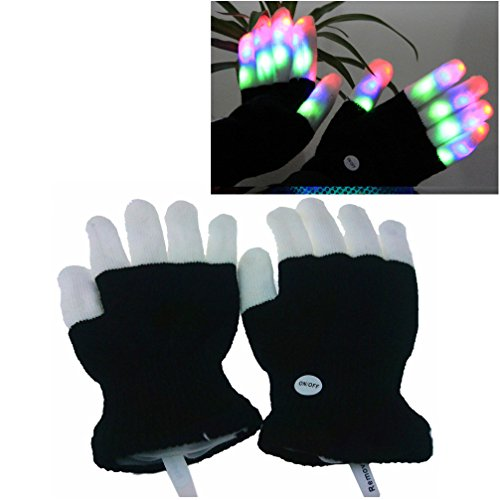 Luwint Children LED Finger Light Gloves - Amazing Colorful Flashing Novelty Toys for Kids (Creative Cute Women Halloween Costumes)