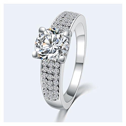 Bague - SODIAL(R)Haute qualite Mode en pierre zircon anneaux pour femmes Bijoux pour les fiancailles en plaque argent blanche taille 7