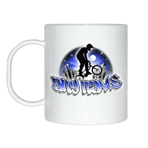Personalised BMX Blue Cityscape Theme Mug (PLEASE PROVIDE NAME FOR PERSONALISATION IN THE GIFT MESSAGE SECTION) by ()