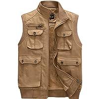 Amcupider Mens Fleece Outdoor Vest Pockets Outwear Large Khaki