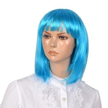Mujer Cian Mujer fibra sintética de la sacudida del cortocircuito del Estilo Straigh peluca de Pelo