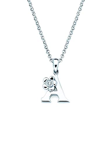 796523d259dd2 925 Sterling Silver Diamond Accent Initial Letter With Flower Accent Girls  Pendant Necklace With 14