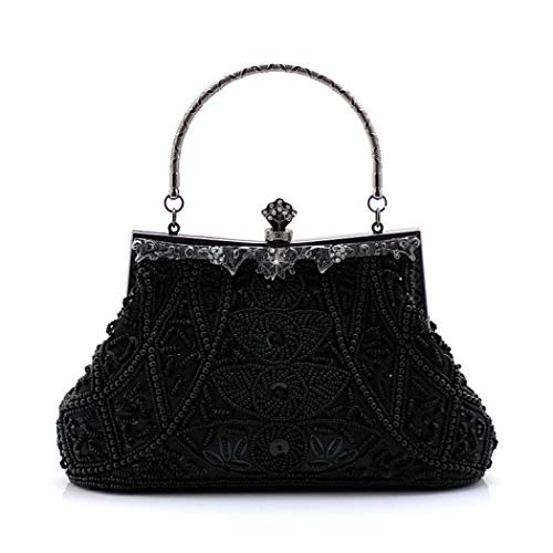 (Women\'s Vintage Style Beaded And Sequined Evening Clutch Bag Designer Wedding Party Handbag Purse (Black))