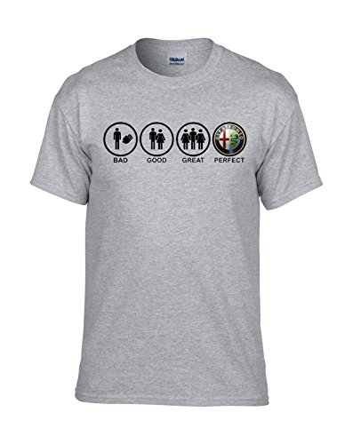 Alfa Romeo BAD-GOOD-GREAT-PERFECT AUTO FUN Grau T-Shirt -152 -Grau