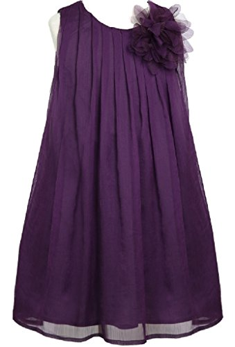 Little Girls Adorable Sleeveless Chiffon Easter Party Birthday Flower Girl Dress Plum Size 4