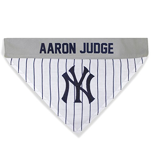 MLBPA Reversible Dog Bandana - Aaron Judge #99 Pet Bandana - MLB New York Yankees Home & Away Bandanna, Large/X-Large