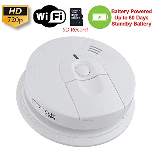 - SecureGuard 60 Day Battery Powered WiFi Smoke Detector Fire Alarm Spy Camera (60 Day Battery, 16GB SD)