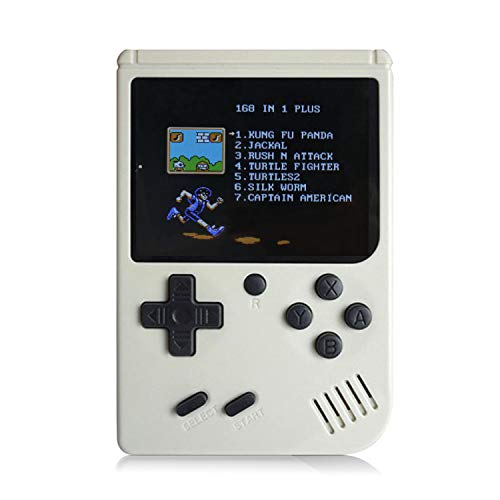 JadeTech Retro Handheld Games Console - 168 Classic Games 8 Bit Games 3 inch Screen Video Games with AV Cable Play on TV (White)