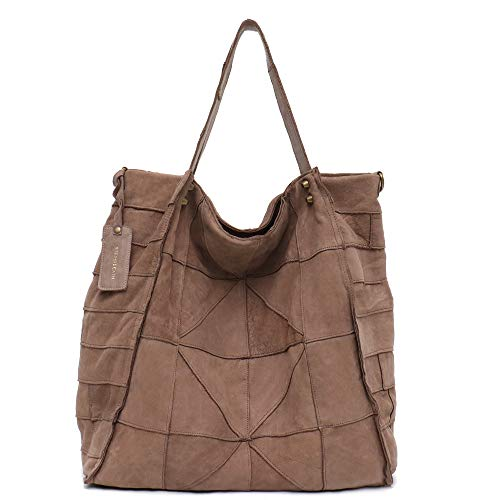 Genuine Leather Women's Shoulder Bag STEPHIECATH Large Casual Soft Real Leather Skin Handmade Patchwork Strip Vintage Tote Bag (BROWN)