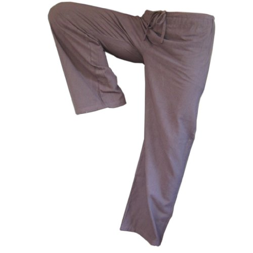 Panasiam - Pantaloni in stoffa, un classico, solo in questa taglia: M(edia), in 8 diversi colori, in vero cotone, - grigio/marrone