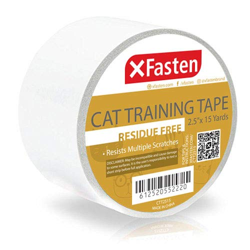 XFasten Title Anti-Scratch Cat Training Tape, Clear, 2.5-Inches x 15 Yards (Single Roll)
