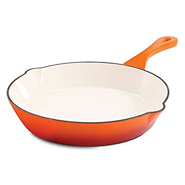 Crock Pot 111989.01 Artisan 12 Inch Enameled Cast Iron Round Skillet, Sunset Orange