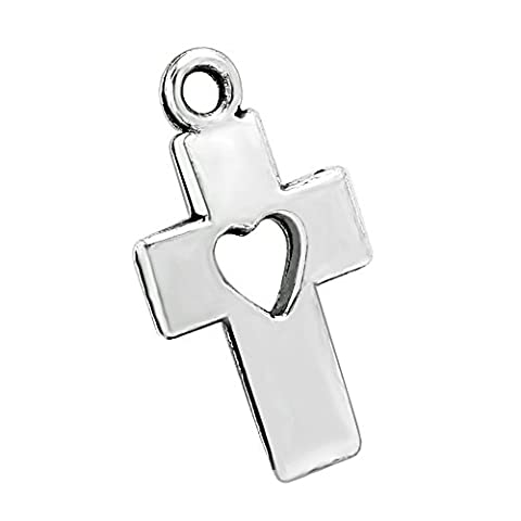 20 Pieces Cross Love Heart Protection Powers Charms Findings for Jewelry Pendant Necklaces Making - Heart Charm Jewelry Finding