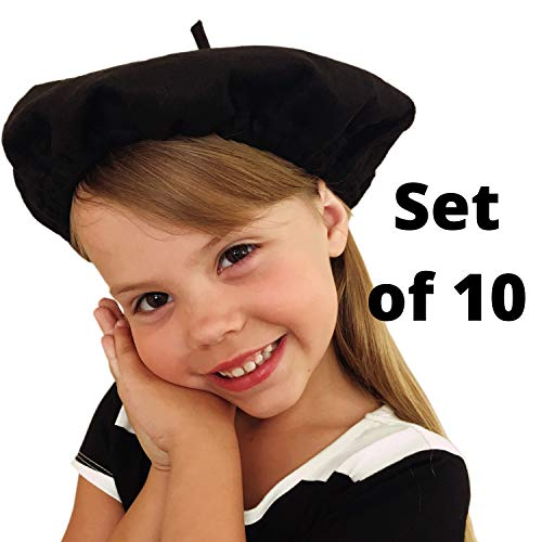 French Party Favors (Beret Hats for Women and Kids Black French Berets Bulk Lot of 10 Perfect for Paris Party and Art)