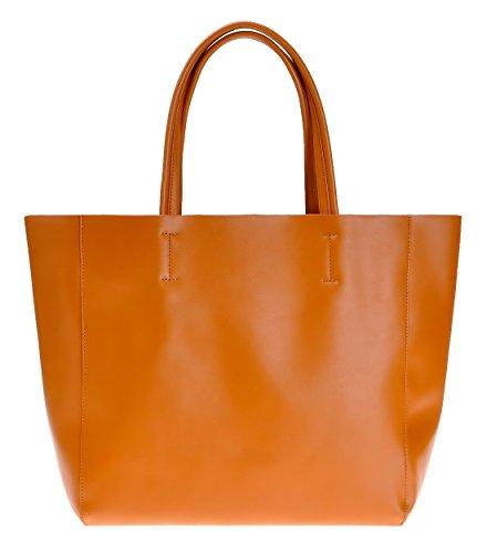 ZLYC Women's Cow Leather Work Tote Shopper Shoulder Bag, Orange