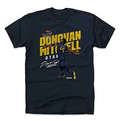500 LEVEL Donovan Mitchell Cotton Shirt X-Large True Navy - Vintage Utah Basketball Men's Apparel - Donovan Mitchell Slam Y WHT