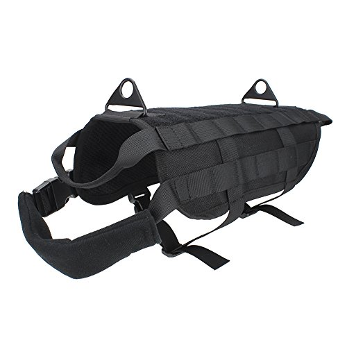 Outry Tactical Dog Training Harness MOLLE Vest with Pulling Handle, 4 for Both Small and Large Dogs - S - Black