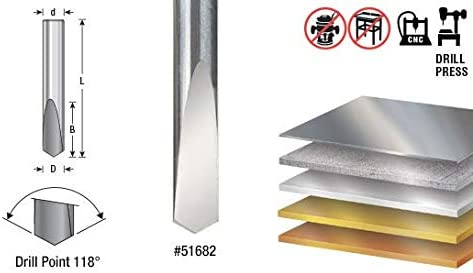 51686 CNC Solid Carbide 118/° Pt Amana Tool Spade Drill 1//4 Dia x 11//16 x 1//4 Sh