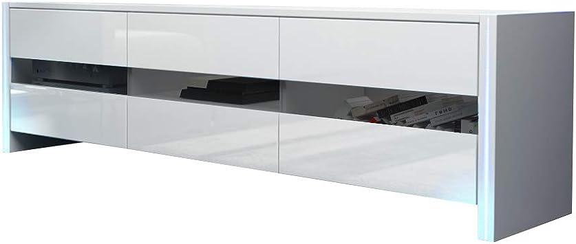 Selsey INCHEL - Mueble TV Moderno/Mesa para TV con LED/Mueble para Salón Comedor (Blanco Mate/Blanco Brillante): Amazon.es: Electrónica