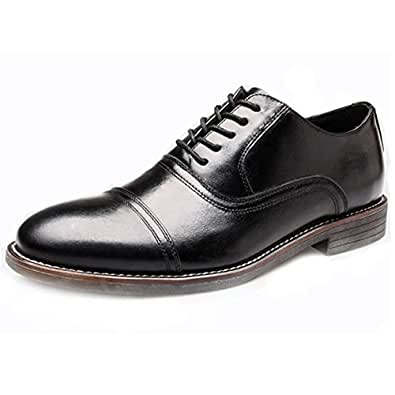 PhiFA Men's Genuine Leather Wingtips Oxfords Business Shoes US Size 7.5 Black