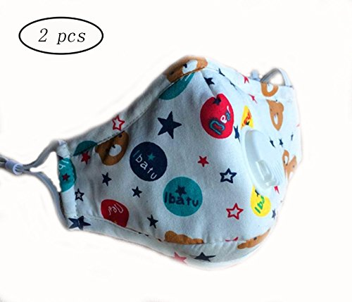 CHRISLZ 2 Pcs PM2.5 Children Pure Cotton Mask Reusable Anti-fog Anti Dust with Filter Respirator Kids Mouth Mask (BEAR) (Child Skull Teeth)