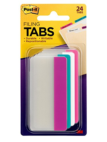 Post-it Tabs, 3 in. Solid, Assorted Colors, Durable, Writable, Repositionable, Sticks Securely, Removes Cleanly, 6 Tabs/Color, 4 Colors, 24 Tabs/Pack, (686-PWAV3IN)