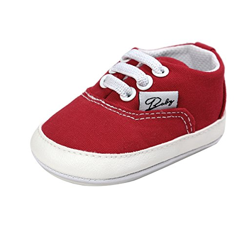 RVROVIC Baby Boys Girls Shoes Canvas Toddler Sneakers Anti-Slip Infant First Walkers 0-18 Months (12cm (6-12months), Red)