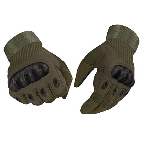 accmor Tactical Gloves Touch Screen Military Rubber Hard Knuckle Outdoor Gloves for Motorcycle Paintball Airsoft Cycling Camping, Full Finger