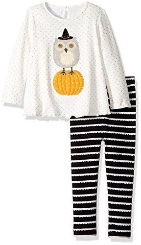 Mud Pie Baby Girl's Halloween Owl Tunic & Leggings Set (Infant) White -