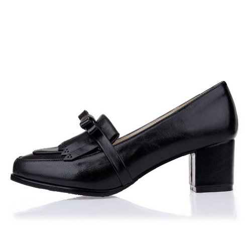 AmoonyFashion Womens Closed Round Toe Kitten Heel Patent Leather PU Solid Pumps with Bowknot Black IXIIOLfQCS