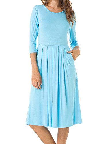 Womens 3/4 Sleeve Pockets Draped Loose Swing Casual Tunic Midi Dress Sky Blue XL