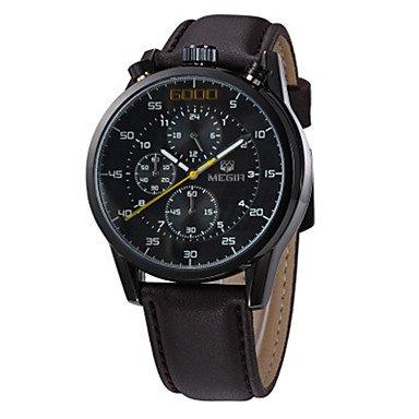 MEGIR Hombre Reloj Casual Reloj de Moda Reloj de Vestir Reloj de Pulsera Cuarzo Piel Banda Casual Cool , black: Amazon.es: Relojes