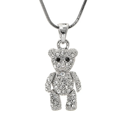 SpinningDaisy Crystals Silver Plated Movable Teddy Bear Necklace