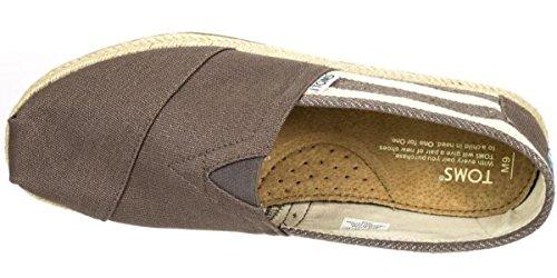 Toms Classic University Grigio Bianco Stripe Donna Canvas Espadrillas Scarpe Slipons