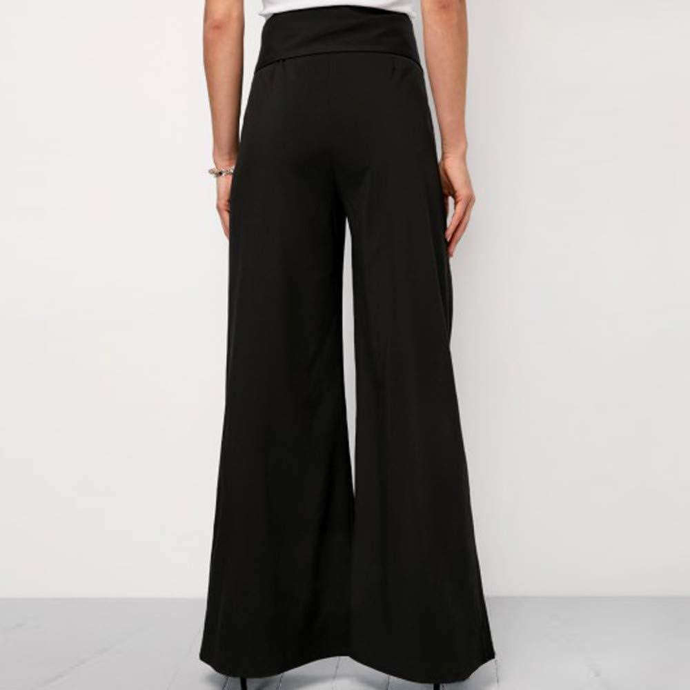 Topgrowth Pantaloni Donna Larghi Chiffon Elegante Bendare Sciolto Pantaloni con Tasche Pantaloni Palazzo A Vita Alta