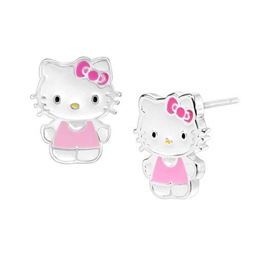 Hello Kitty Stud Earrings in Sterling Silver-Plated Brass