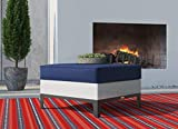crate and barrel footstools Finch ODCH10009A Hampton Ottoman, White & Navy