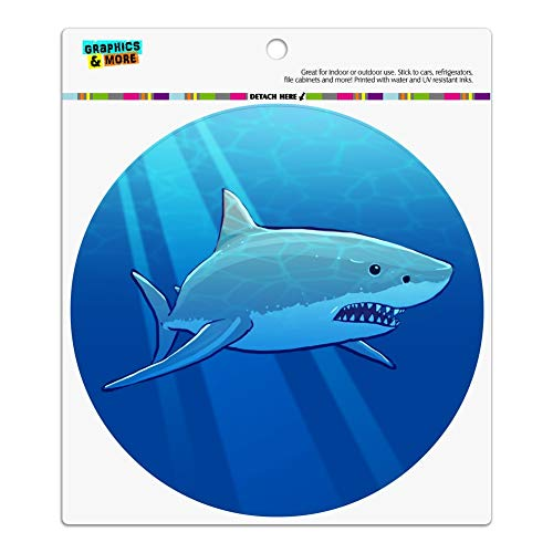 - GRAPHICS & MORE Great White Shark Realistic Automotive Car Refrigerator Locker Vinyl Circle Magnet