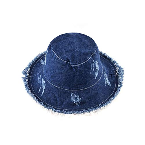 Panama Fringe - Margot-Charismatic-Shop Sun helmet Unisex Panama Hats for Men Women Cotton Bucket Hat Portable Foldable Flat Fringe Sunhat Visor Cowboy Summer Hats,Blue3