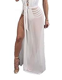 ADDRUALI0 Sexy - Falda de Malla Transparente para Mujer, Maxi, Falda, Vestido de Bikini