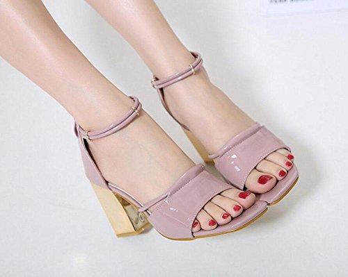 Mujeres de Strap metal GLTER de tacón tacón gruesas pink corte rosa de abierto Verano Ankle zapatos zapatos rojo negro Bombas Sandalias alto con Zapatos hueco Nueva cuadrados TdAqwAE
