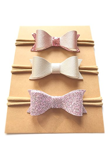Hair Bows Baby Headband Set Baby Bows New Baby Gift Baby Accessories Baby Shower Gift Bow Headbands Nylon Headbands Leather Hair Bows Set (New Pink Leather Jewelry)