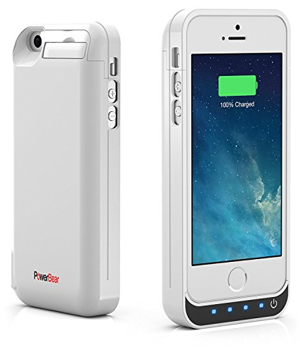 PowerBear iPhone 5SE / 5S / 5C / 5 Extended Rechargeable Battery case [4000mah] developed in USB power Bank Capacity (Up to 2.5X Extra Battery) - White [24 Month assurance and television screen Protector Included]