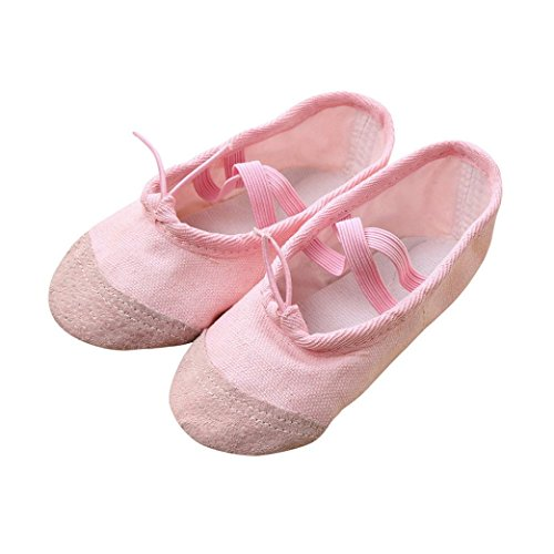 GBSELL Little Girl Canvas Fitness Gymnastics Ballet Dance Crib Soft Sole Shoes (7-7.5T, Pink)