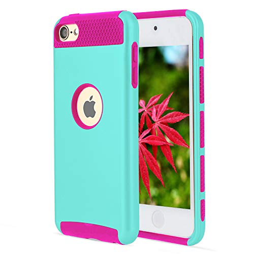 (Cases for iPod Touch Cases 6th Generation for iPod Touch Cases 5th Generation Dual Layer 2 in 1 Soft Inner Silicone Case + Hard PC Outer Cover for Cases iPod Touch 5 Case for iPod Touch 6 Case)