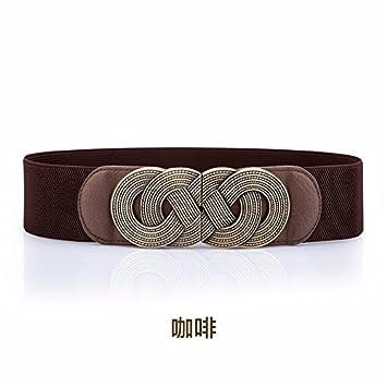 c9d0e5313ef Élastique élastique ceinture femme grande taille garniture robe manteau large  ceinture Brown