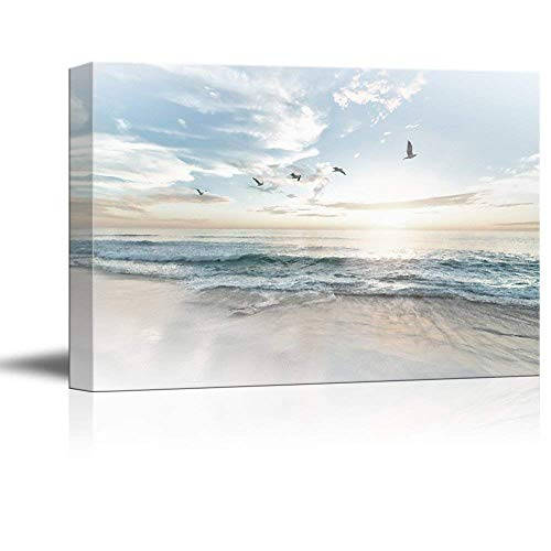wall26 Canvas Wall Art - Watercolor Style Waves on The Beach with Sea Birds - Giclee Print Gallery Wrap Modern Home Decor Ready to Hang - 24