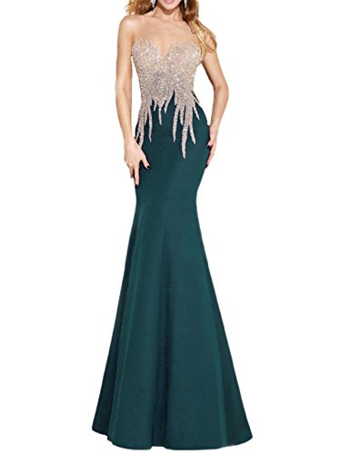 Jade Evenings Womens Dress (OYISHA Womens Scoop Neck Mermaid Prom Dress Long Bead Wedding Evening Gown EV135 Jade 2)