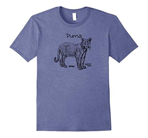 Mens Puma Mountain Lion T-shirt Big Cat Lover Large Heather Blue