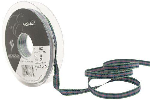 Scotland Tartan Ribbon - Berisfords 7622 25 m x 7 mm Traditional Tartan Ribbon, Flower of Scotland by Berisfords